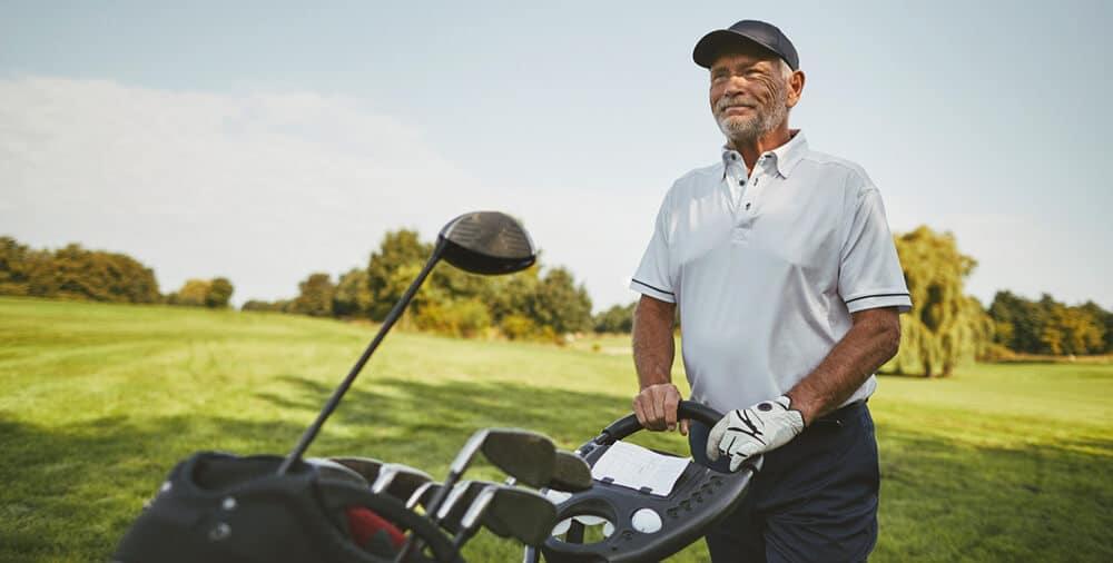 Man golfing in Mesa, AZ